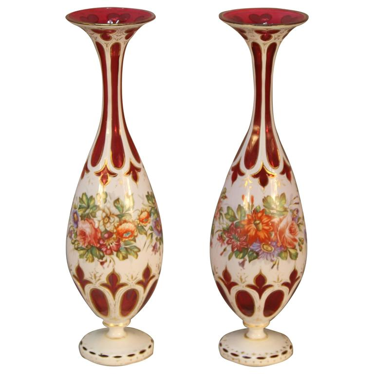 Antique Pair Of Ruby Cranberry Overlay Bohemian Glass Vases For Sale