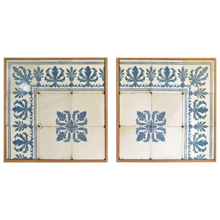 Antique Blue And White Portuguese Tiles Framed In Modern Wood Frames - Blue and white tiles for sale