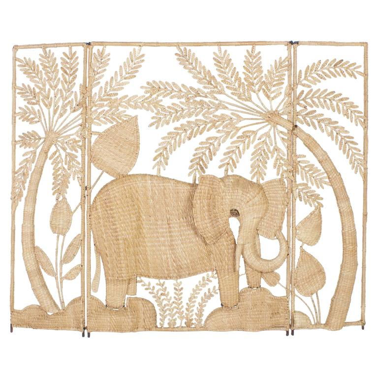 Folky Mario Torres Three-Panel Folding Screen For Sale
