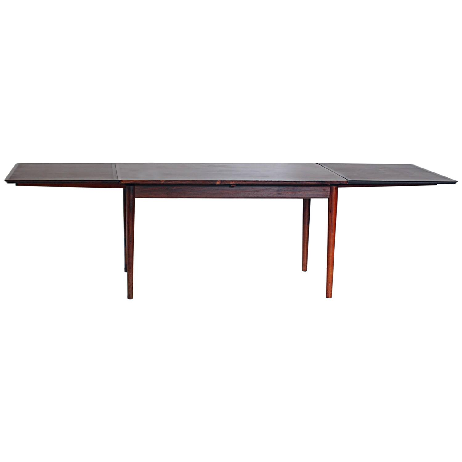 danish modern expandable rosewood dining table attributed to niels