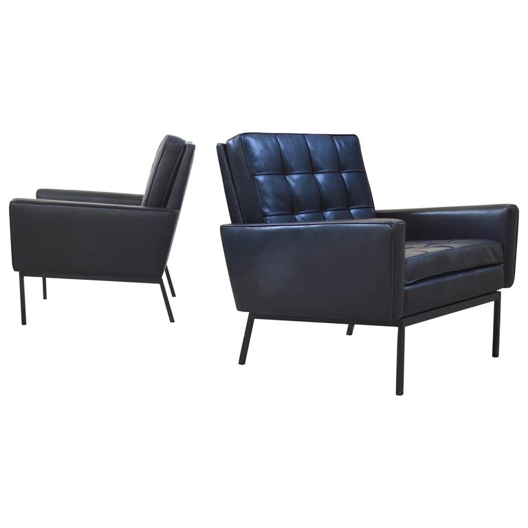 Pair of Florence Knoll Leather model 65A Arm Chairs
