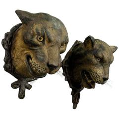 Gorgeous Pair of Leopard Heads, Austria, circa 1890