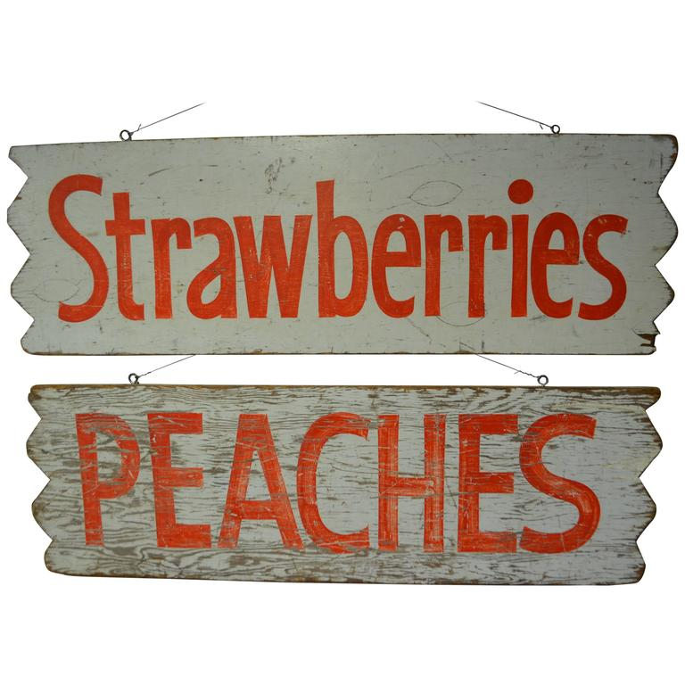 Pair of Farm Produce Signs, Hand-Lettered from the 1950s 1