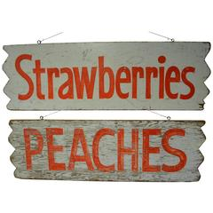 Pair of Farm Produce Signs, Hand-Lettered from the 1950s