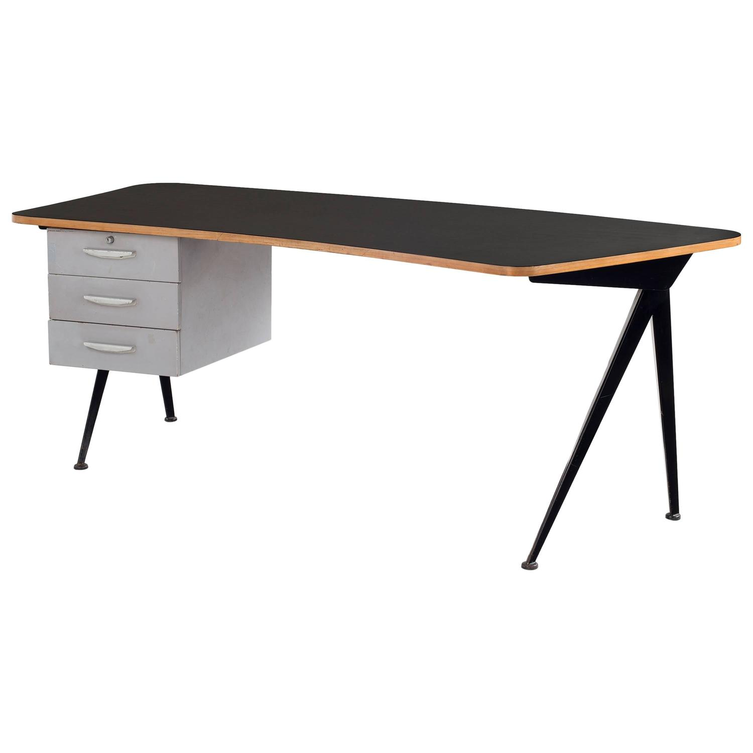 jean prouv large compas curved desk at 1stdibs. Black Bedroom Furniture Sets. Home Design Ideas