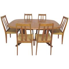 Danish Teak Dining Set, Expandable Oval Table and Six Chairs, circa 1970s