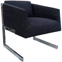 Mid-Century Modern Milo Baughman Style Chrome Cantilever Lounge Chair
