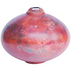 Red Ceramic Vase with Lid