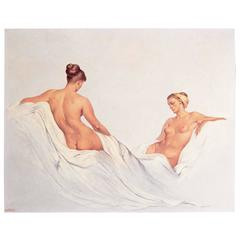 """Two Female Nudes,"" Mid-Century Masterpiece by Alexander Cañedo"