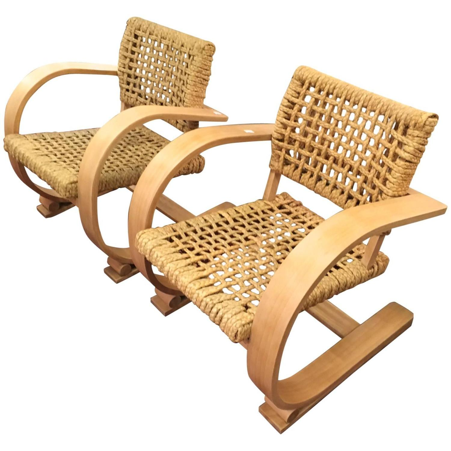 Audoux Minet For Vibo Pair Of Blond Bentwood And Rope Chairs For Sale At  1stdibs