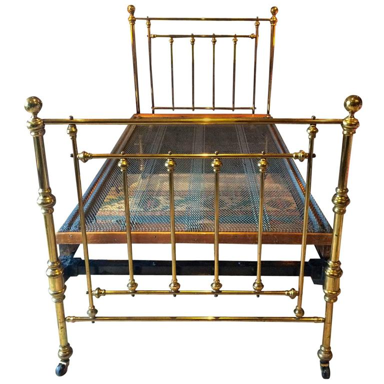 Antique Victorian Metal Bed : Antique bed victorian single brass th century base