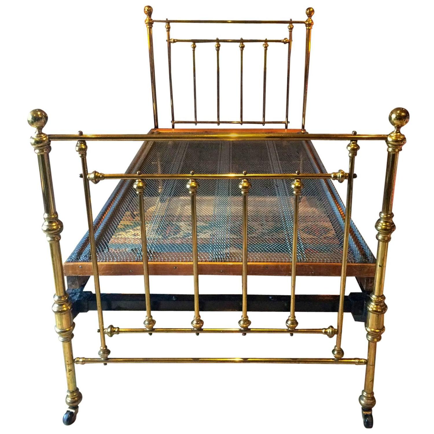 Antique Bed Victorian Single Brass Bed 19th Century Base