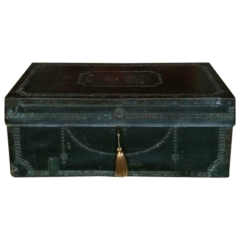 Antique travel trunk chest victorian leather brass studded 19th century at 1 - Leather chests and trunks ...