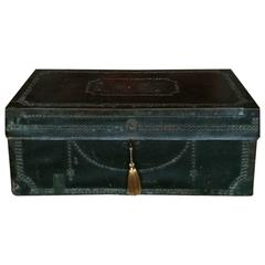 Antique Travel Trunk Chest Victorian Leather Brass Studded, 19th Century