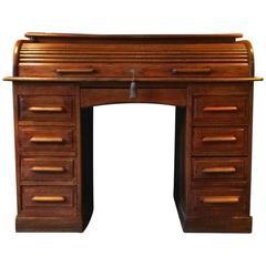 Antique Roll Top Desk Twin Pedestal Writing Desk Solid Oak Edwardian
