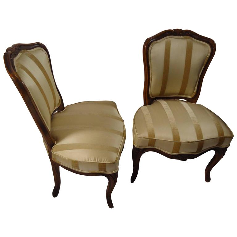 Pair of Diminutive French Carved Walnut Slipper Chairs