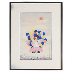 Watercolor Woman with Balloons