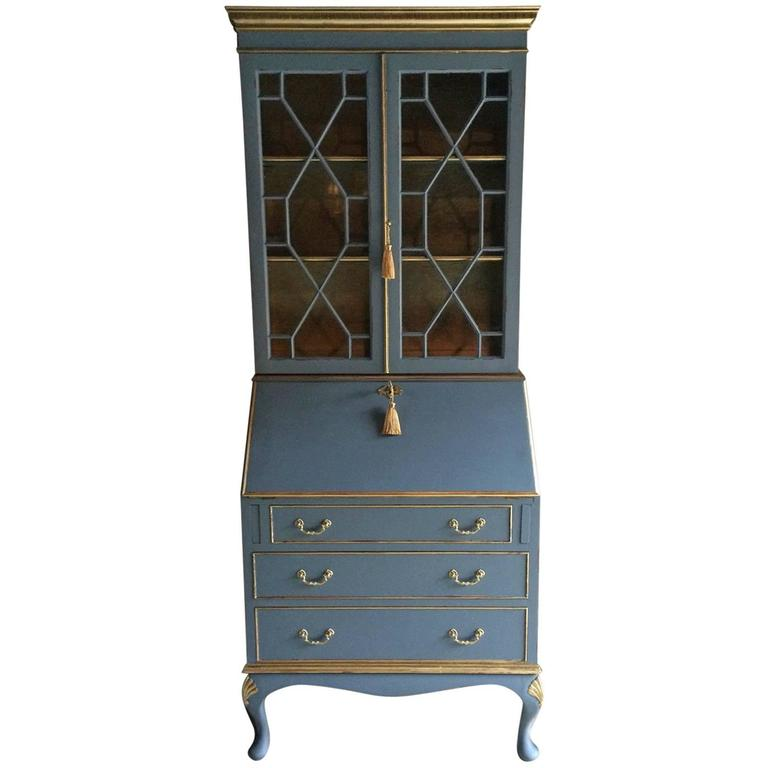 antique style writing bureau bookcase shabby chic mahogany secretaire at 1stdibs. Black Bedroom Furniture Sets. Home Design Ideas