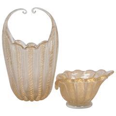 Two Barovier Cordonato d'Oro Glass Vases