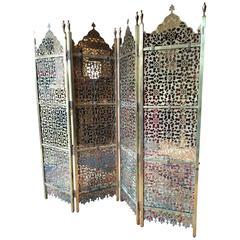 Eastern Brass Screen Room Divider Four Fold Pierced Panels Oriental