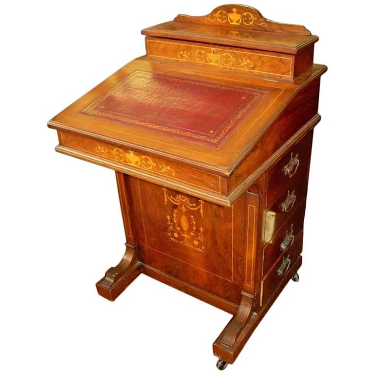 English Marquetry Inlaid Rosewood Davenport or Ship Captain's Desk For Sale