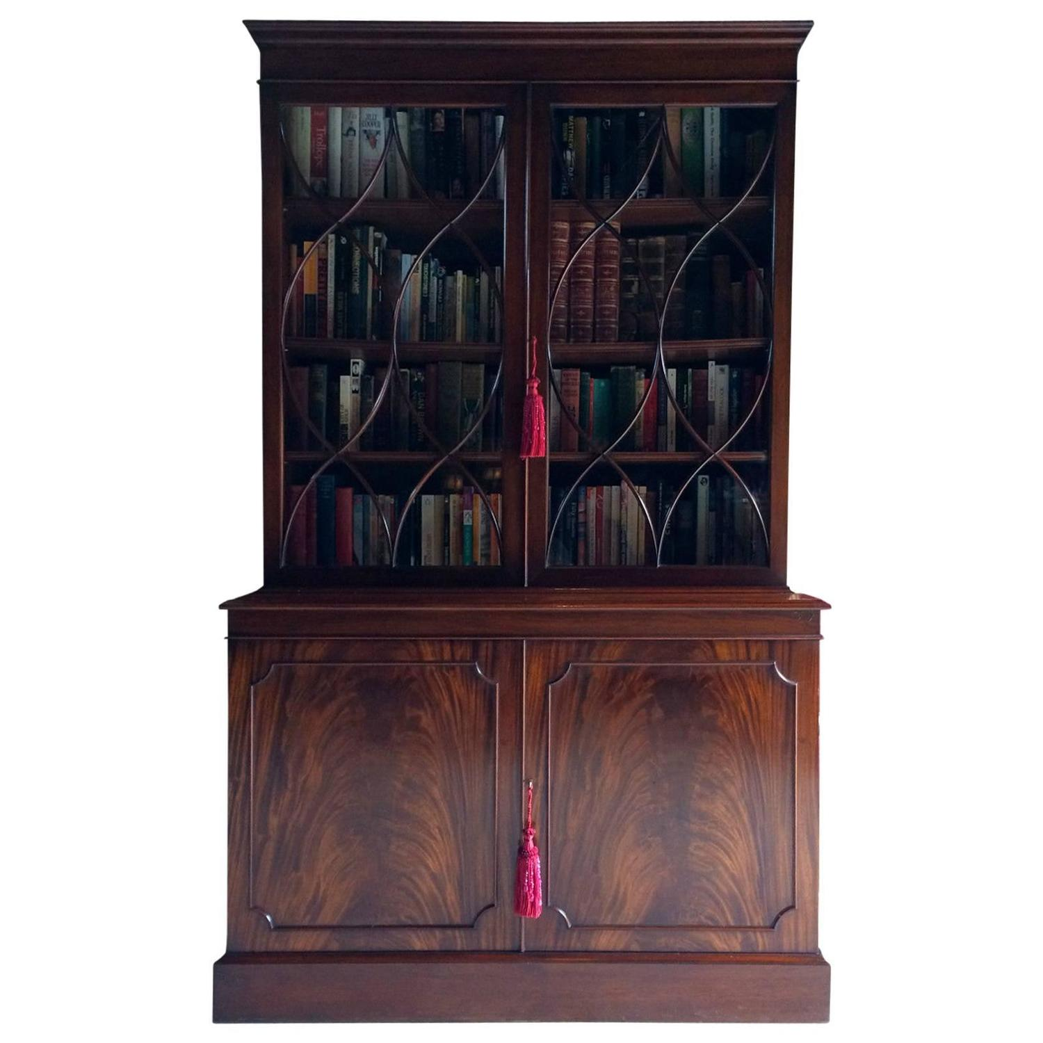 Antique Style Bookcase Mahogany Display Cabinet Two-Door Large Astragal at  1stdibs - Antique Style Bookcase Mahogany Display Cabinet Two-Door Large