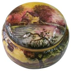 Antique French Enamel Covered Bomboniere Signed by Gamet