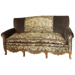 Antique French Needlepoint Sofa with Exquisite Detail and Hand-Carved Legs