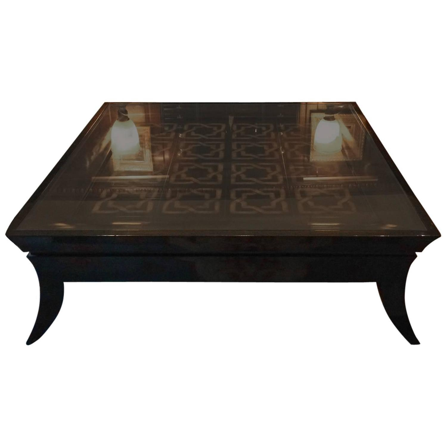 Large coffee table glass topped tiled modern at 1stdibs Glass contemporary coffee table