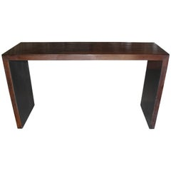 Beautifully Grained Brown Console probably bamboo veneered