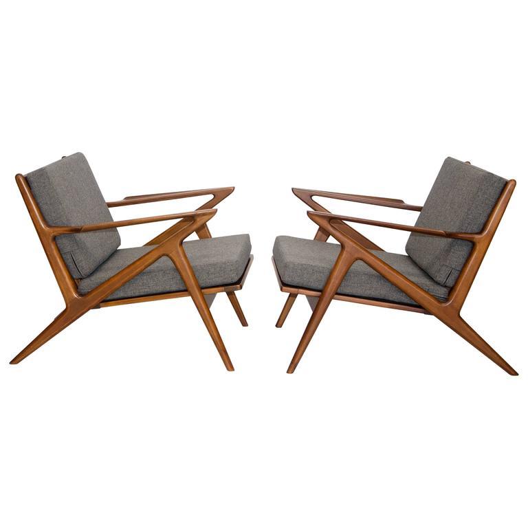 Pair of danish z lounge chairs poul jensen for selig at 1stdibs - Poul jensen z chair ...