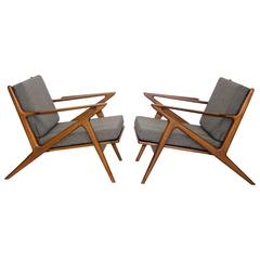 Pair of Danish Z Lounge Chairs, Poul Jensen for Selig