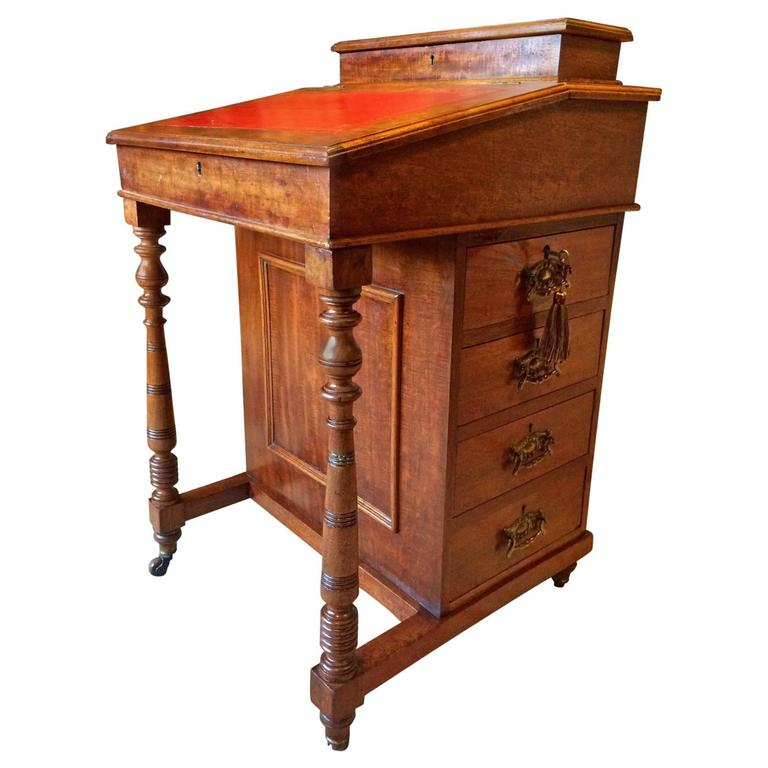 Antique Davenport Writing Desk Gany Victorian 19th Century For