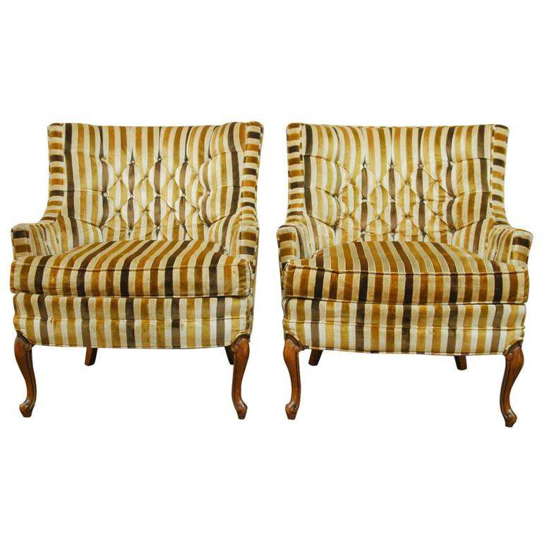 Pair Of Velvet Tufted Club Chairs By Silver Craft Furniture For