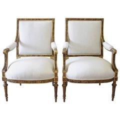Pair of 19th Century Louis XVI Carved Giltwood Chairs