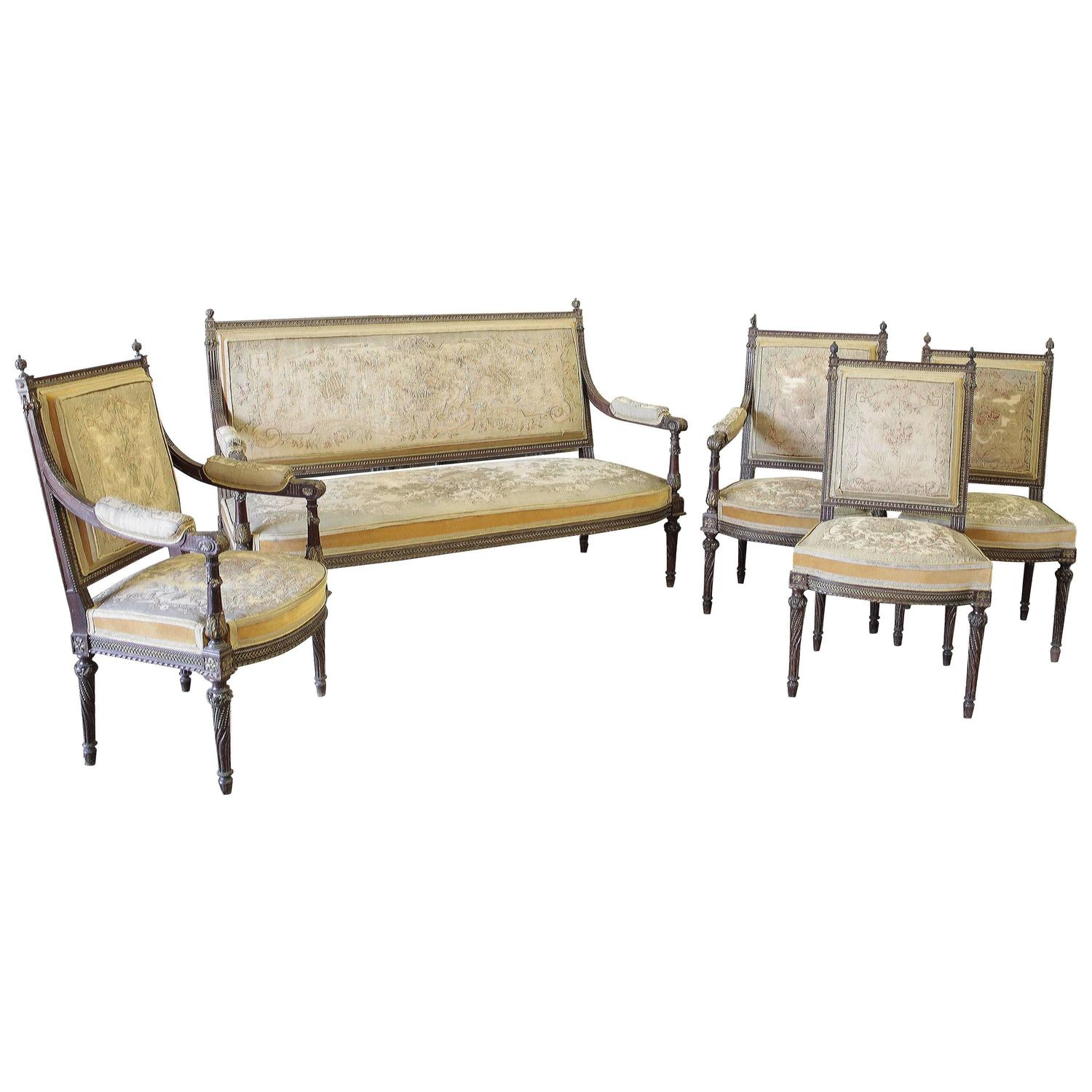 19th century louis xvi five piece salon set with tapestry for Living room 5 piece sets