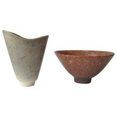 Carl Harry Stalhane, Ceramic for Rörstrand Bowl and Vase, Signed
