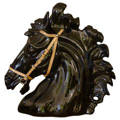 Large Italian Ceramic Horse Head Sculpture by Gucci
