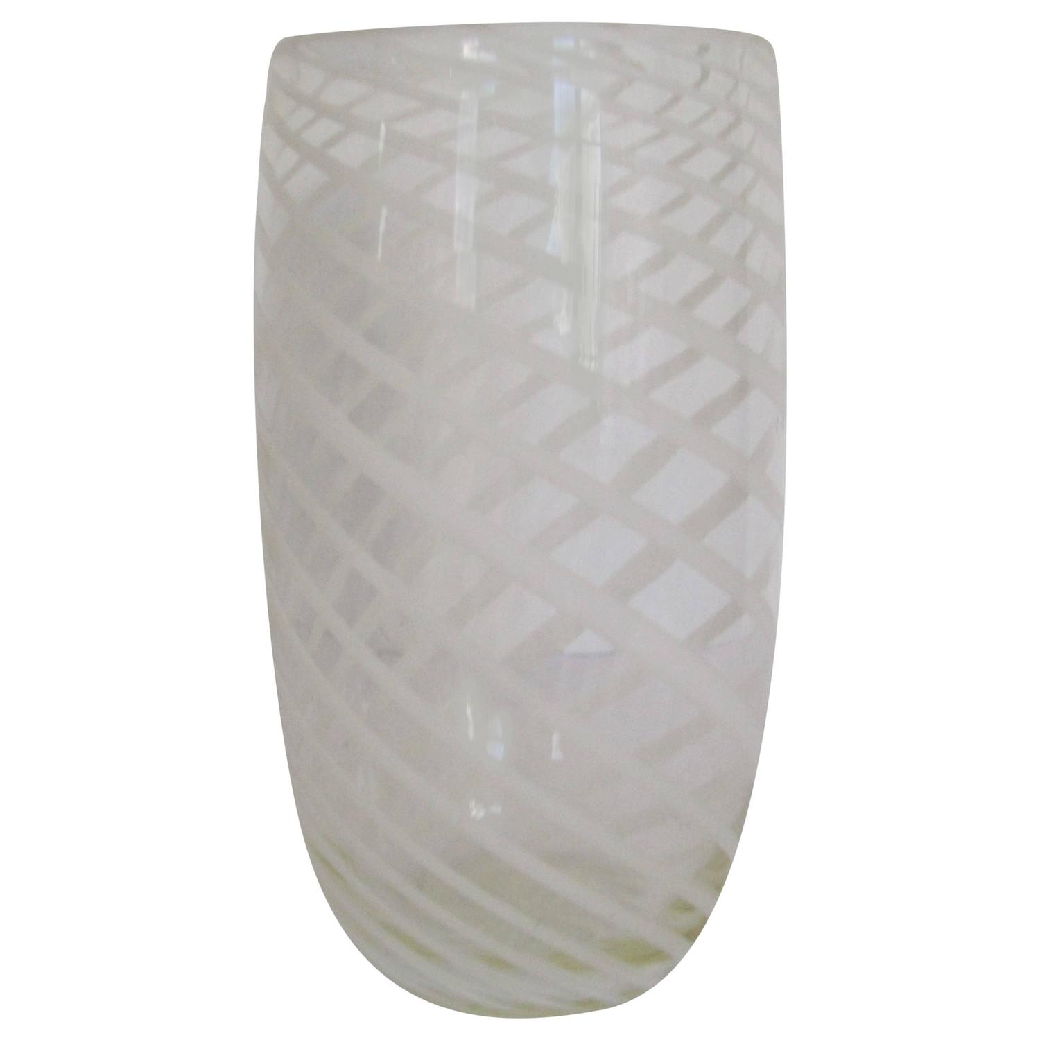 Jeff zimmerman glass vase designed exclusively for tiffany and co clear art glass vase with white ribbon design in the style of barovier and toso reviewsmspy
