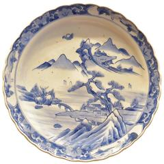 Antique Japanese Blue and White Charger, circa 1860