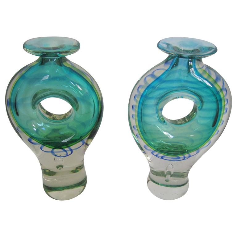 Pair of Modern Blue and Green Art Glass Vessels or Vases
