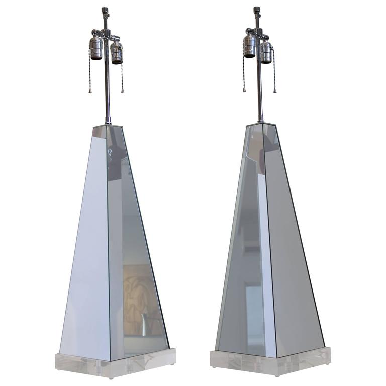 Pair of Mirrored Obelisk Lamps with Lucite Bases