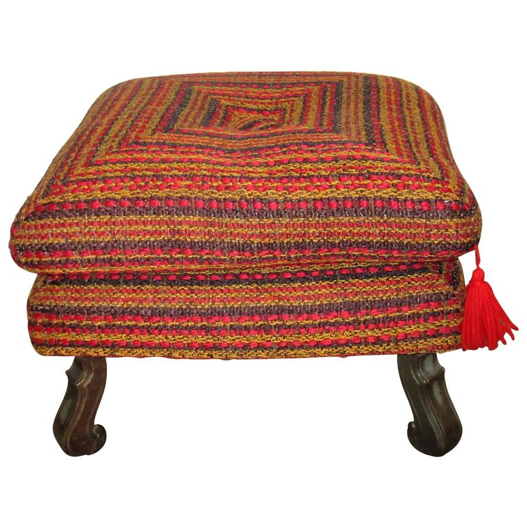 Midcentury Colorful Ottoman, Bench, or Stool