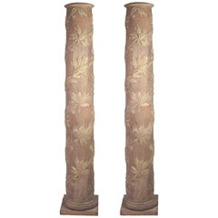 Pair of Gilded and Painted Neo-Classical Decorative Columns