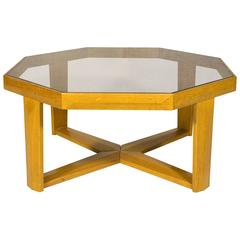 Alain Marcoz Octagonal Oak Coffee Table, circa 1950, France