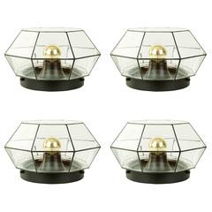 Set of Four Large Geometric Black & Clear Glass Flush Mount Lights by Limburg