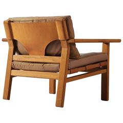 Kurt Østervig Armchair in Oak and Leather for K.P. Møbler