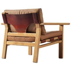 Kurt Ostervig Armchair in Oak and Leather for K.P. Møbler