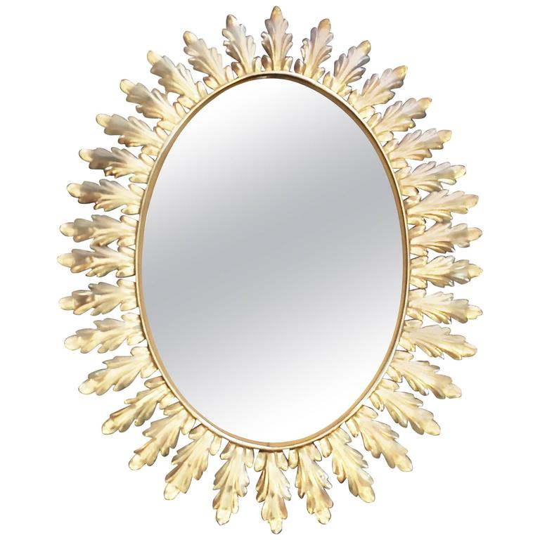 Large French Mid-Century Sunburst Style Mirror with Acanthus Leaves For Sale