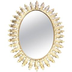 Large French Mid-Century Sunburst Style Mirror with Acanthus Leaves